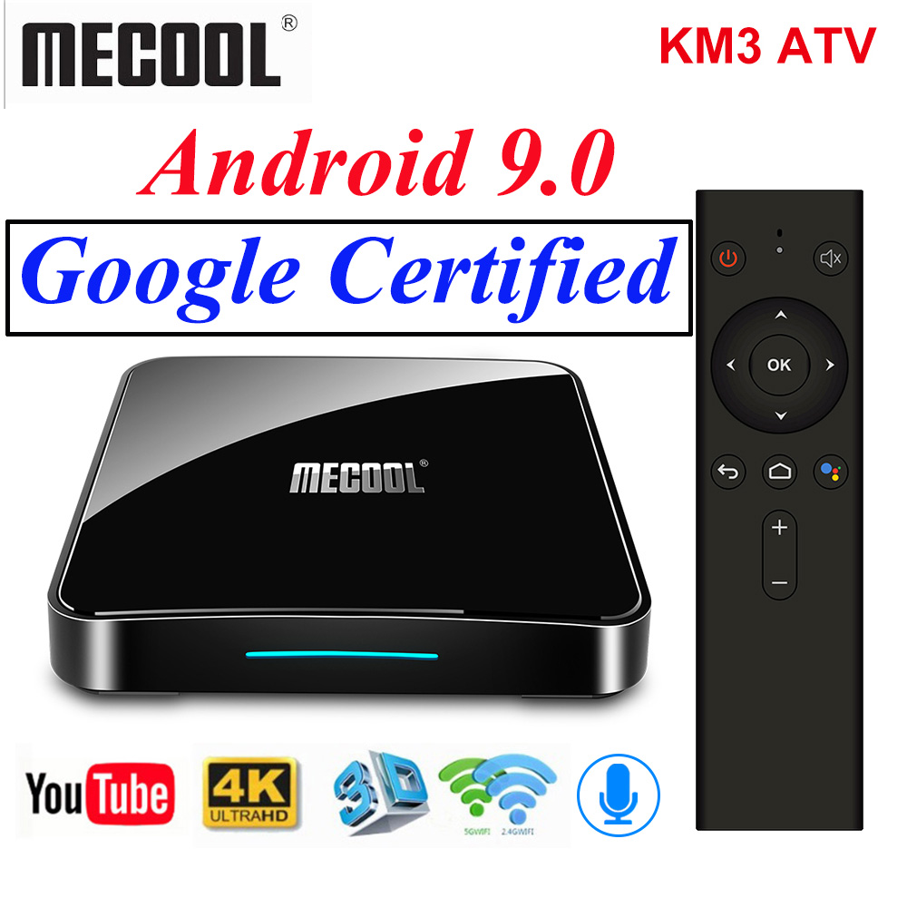 Original Mecool KM3 ATV Google Certified Androidtv TV Box Android 9.0 S905X2 Voice Control 2.4/5G Wifi Streaming Media Player