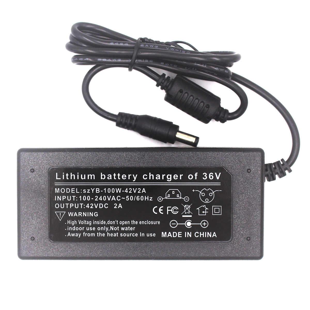 42 V 2A Điện Pin 36 V Li-ion Pin Lithium 2 bánh Xe Đầu Sạc