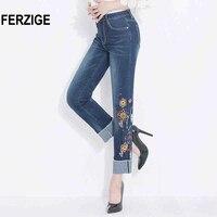 FERZIGE Punhos Magros Retas Jeans Cintura Alta Bordado Floral das Mulheres Azul escuro Stretch Yong Menina Sexy Push Up Tamanho Grande 36