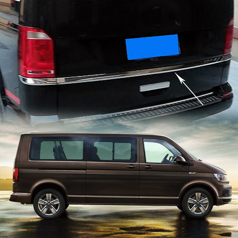 For VW Volkswagen Transporter T6 Caravelle/ Multivan 2017 2018 Car Tail Gate Rear Door Upper Strips Molding Trim Cover for vw volkswagen transporter t6 caravelle 2017 2018 car rear door tail gate bottom strips molding trim cover abs chrome