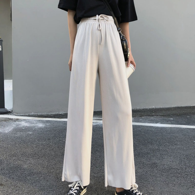 Women's Casual Harajuku Trousers High Waist   Wide     Leg     Pants   Drawstring Women   Pants