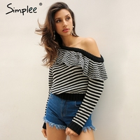 Simplee Striped Knitted Pullover Sweater Women One Shoulder Ruffle Long Sleeve Jumper Casual Autumn Winter Knitting