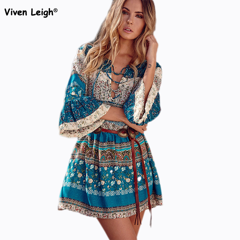 flare sleeve hippie boho dress summer beach bohemian print