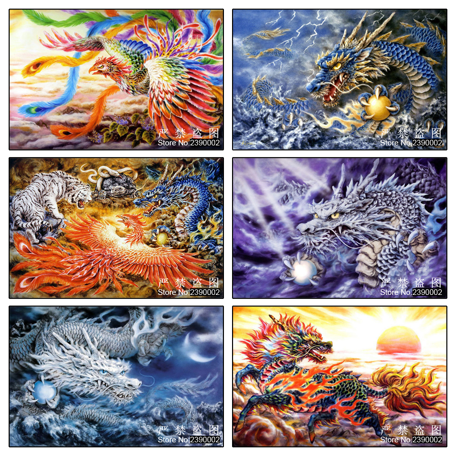 Вышивка тигр и дракон