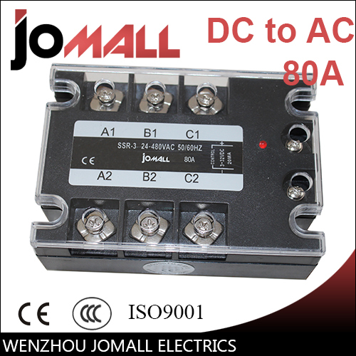 80A DC control AC SSR three phase Solid state relay free shipping mager 10pcs lot ssr mgr 1 d4825 25a dc ac us single phase solid state relay 220v ssr dc control ac dc ac