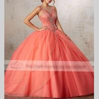 Luxury Orange Quinceanera Dresses Ball Gown Beaded Rhinestones Sweet 16 Year Princess Dresses For 15 Years Fast Shipping