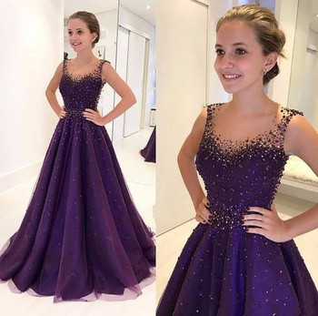 Purple Muslim Evening Dresses 2019 A-line Tulle Beaded Elegant Islamic Dubai Saudi Arabic Long Evening Gown Prom Dress