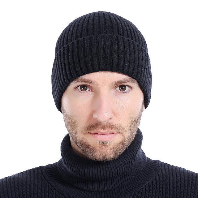 28ccc36a438 Wool Men s Winter Hats Fashionable Knit Black Hats Autumn Hats Thick and Warm  Hats Skullies Peas Soft Knitted Woolen Cotton