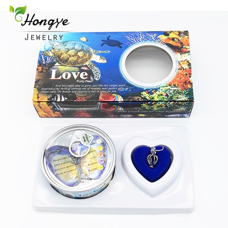 Hongye Ocean Boxes Wish Pearl Love Heart Cage Holder Chokers Necklace for Women With Pendants Pearl Necklace Oyster Gift Box