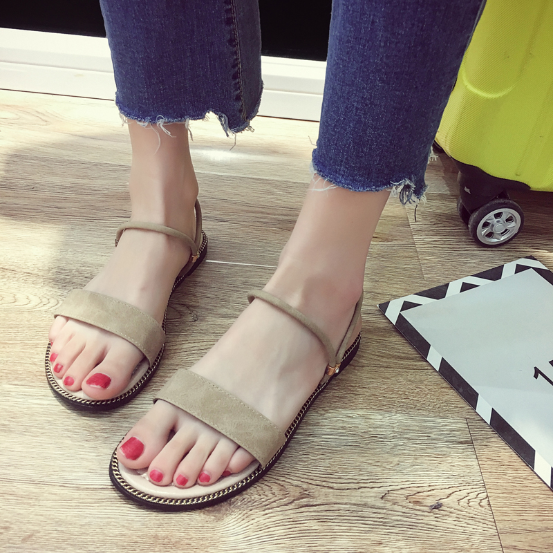 SLHJC Promotion Sandals Women Summer Flat Heel Open Toe Casual Shoes Slippers Beach Sand Shoes