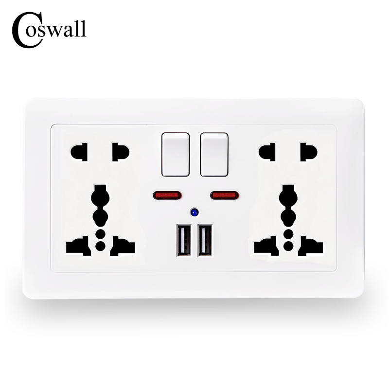 Coswall Wand Steckdose Doppel Universal 5 Loch Switched Outlet 2.1A Dual USB Ladegerät Port led-anzeige 146mm * 86mm