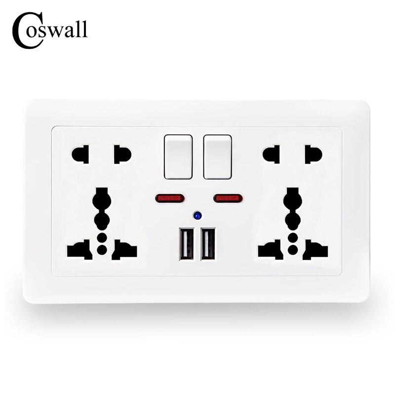 Coswall alimentación de pared hembra doble Universal 5 agujero cambió salida 2.1A Dual USB puerto del cargador del indicador LED 146mm * 86mm
