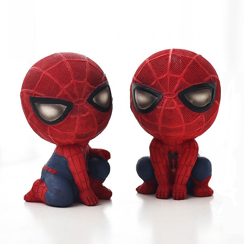 American Creativity Warrior Spiderman Piggy Bank Figurine Manga Hero Hand Office Resin piggy Bank Craft Personality Student Gift