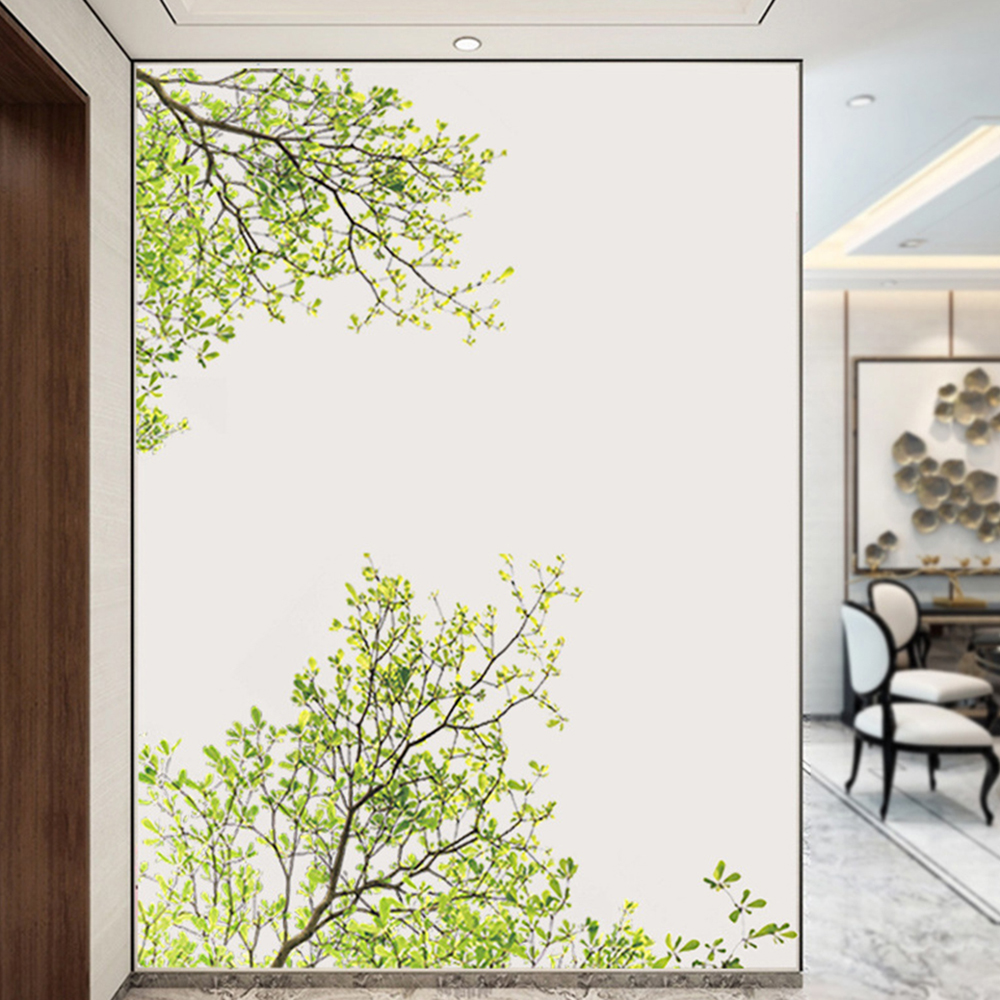 Green leaves tree branch plant removable wall stickers ...