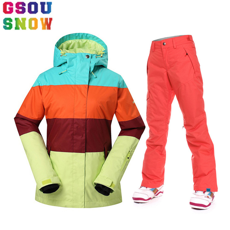 GSOU SNOW Winter Ski Suits Women Ski Jacket and Pants Outdoor Sports Clothing Waterproof 10K Female Snowboard Sets Skiing Suit gsou snow brand ski jacket women snowboard jacket winter waterproof outdoor skiing suit snowboarding snow clothing sports coat