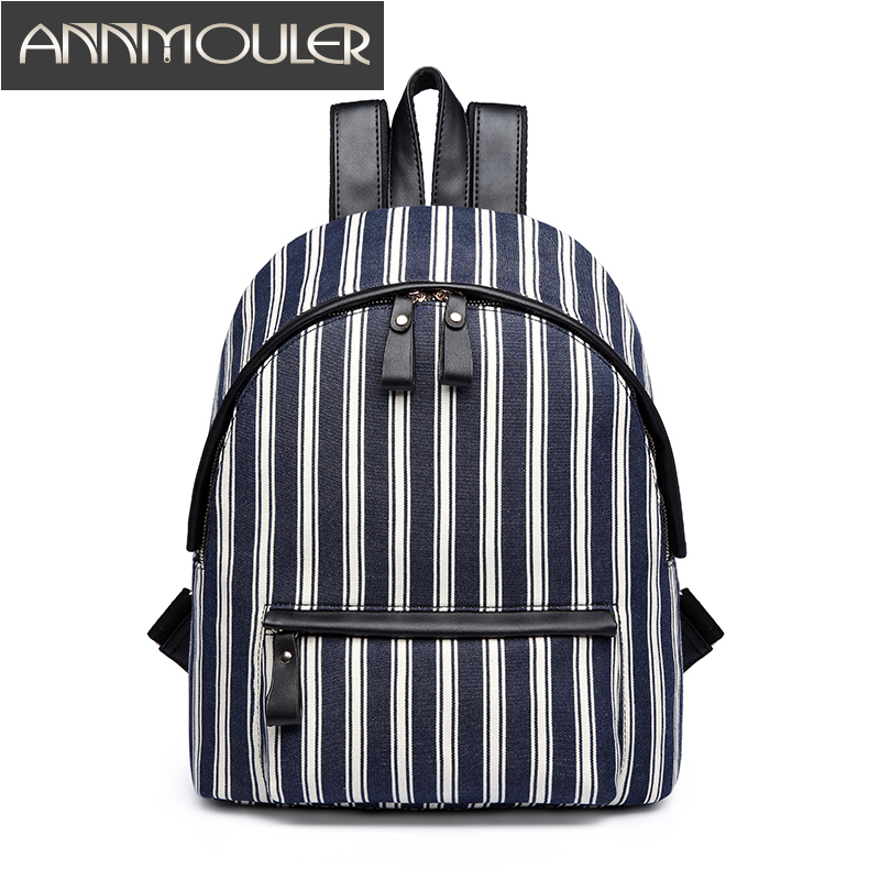 Annmouler Brand New Women Backpacks High Quality Fashion Backpacks Stripe Casual Daypack Canvas Rucksack Preppy Style