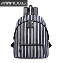 Annmouler Фирменная Новинка женские Рюкзаки Высокое качество модные Рюкзаки в полоску повседневный рюкзак холст рюкзак элегантный дизайн школьная сумка