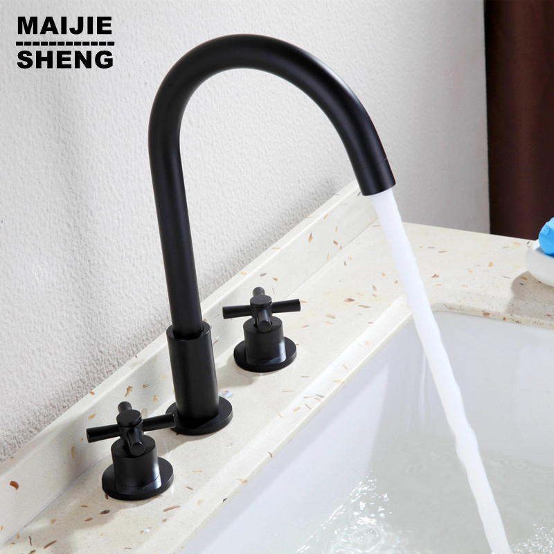 Tap double handle Basin Mixer Hot And Cold Water Wash Faucet Bathroom bathroom faucet deck mounted mixer faucet micoe hot and cold water basin faucet mixer single handle single hole modern style chrome tap square multi function m hc203