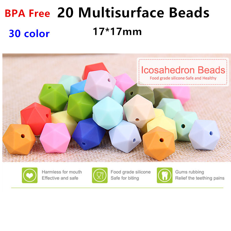 100pcs 17mm BPA Free Loose Silicone 20 side Multisurface Teether Beads DIY Baby Shower Pacifier Icosahedron