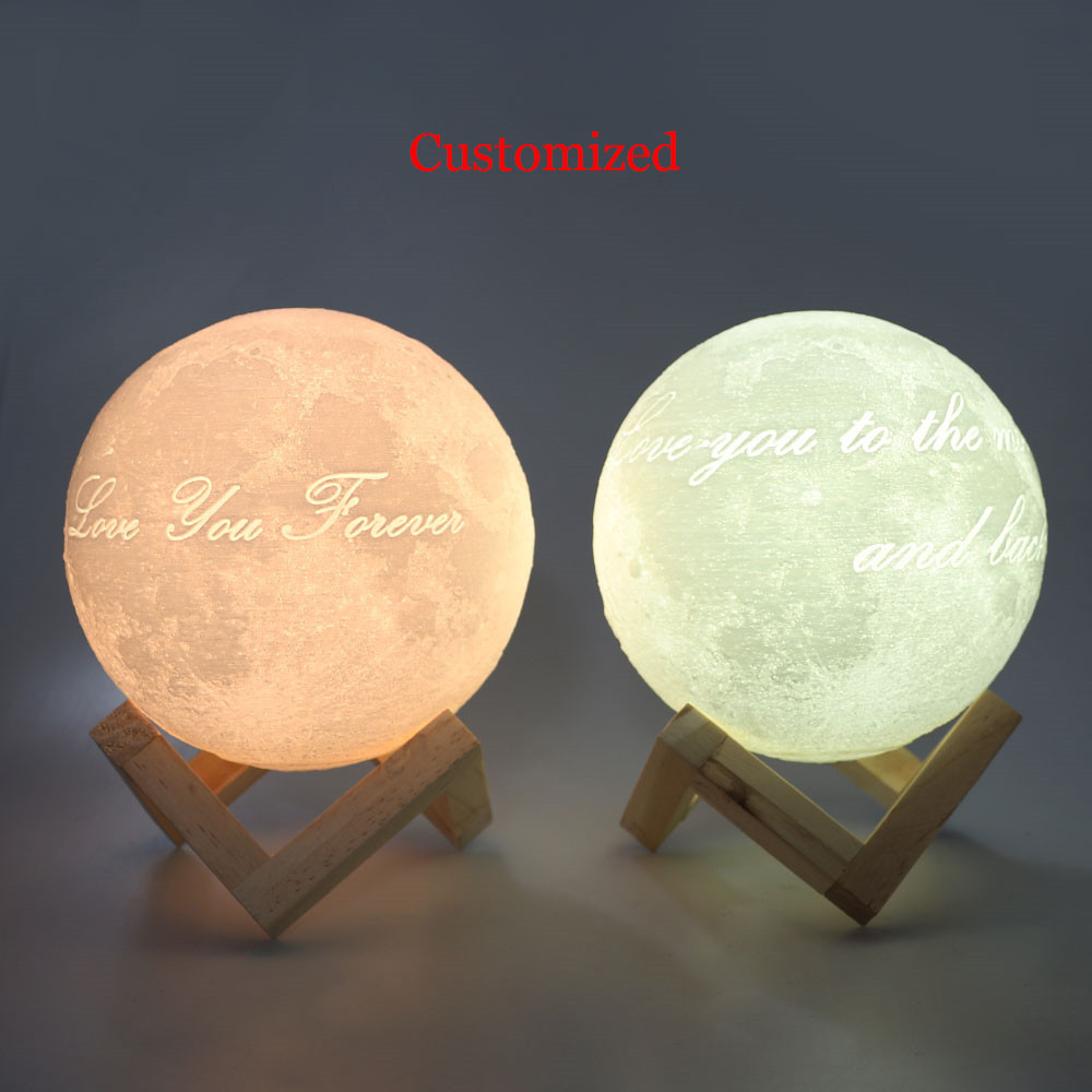 Customized Personality 3D Printing Moon Novelty Light Lunar USB Charging Night Lamp Touch Control Dim Brightness Dual Colors