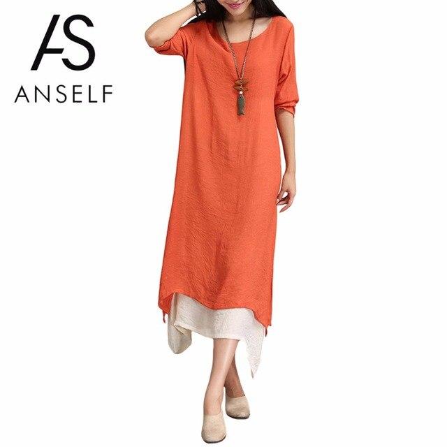 Women Vintage Long Dress Contrast Double Layer Casual Loose Midi Boho Dress  Plus Size 3XL 4XL 5XL Retro Dress female Robe Gowns 8d23fab22a81