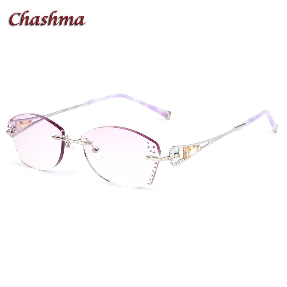 Chashma Brand Colored Lenses Fashion Glasses Frame lunette de vue femme Rimless Titanium Spectacles Women lentes