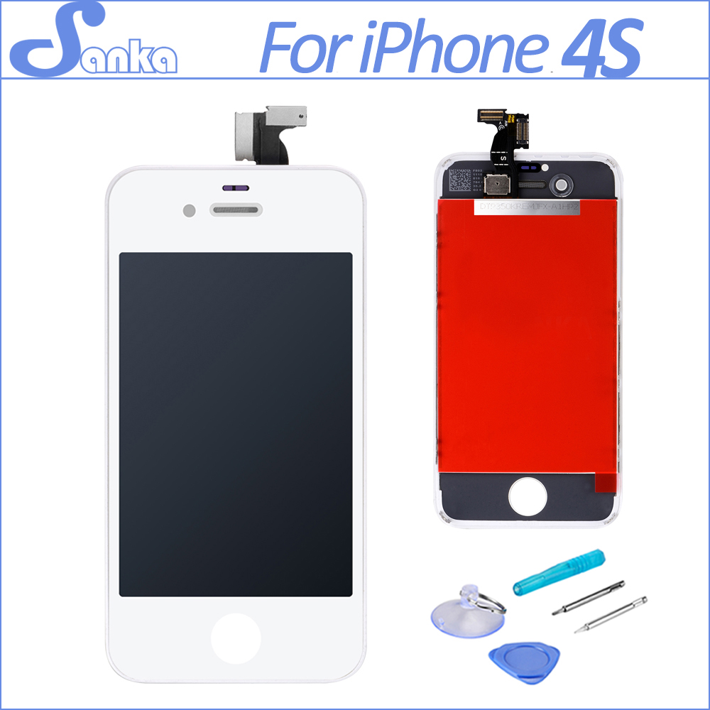 SANKA AAA Replacement LCD For iPhone 4S LCD Screen Display Digitizer Touch Screen Assembly White Mobile Phone Parts