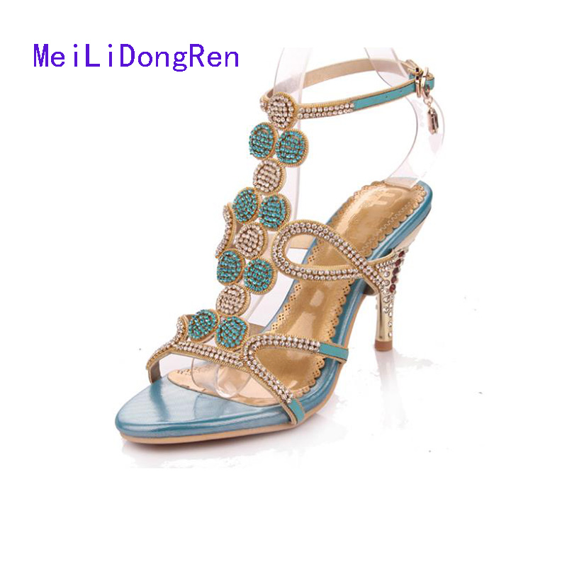 Sandalias 2015 Sexy Rhinestone Crystal Slippers Genuine Leather Summer Shoes High-Heeled Sandals Plus Size 33-41 summer women leather high heeled shoes sandals rhinestone pump sandals ladies open toe slippers plus size 33 41