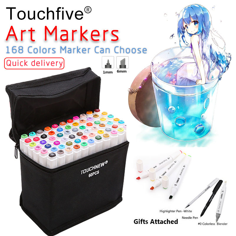 Touchfive 30/40/60/80/168 Colors Pen Marker Set Dual Head Sketch Markers Brush Pen For Draw Manga Animation Design Art Supplies touchfive art markers pen dual head marker set oily alcoholic sketch marker brush pen art supplies for animation manga draw