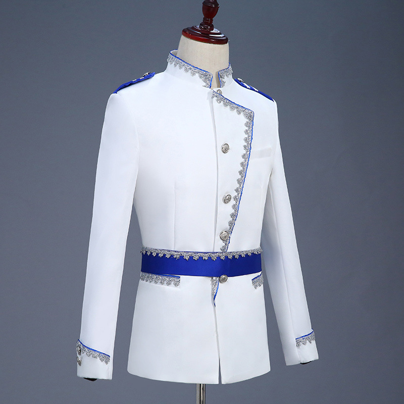 Men Floral Suit European Royal Gown Show Men's Prince Stage Costumes Luxury Men Clothing White England Style Men Suit