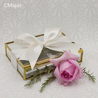 CMajor Rectangle Shaped Clear Glass Photo Display Boxes Handmade Jewelry Holder Lead Free Food Grade Trinket Collection