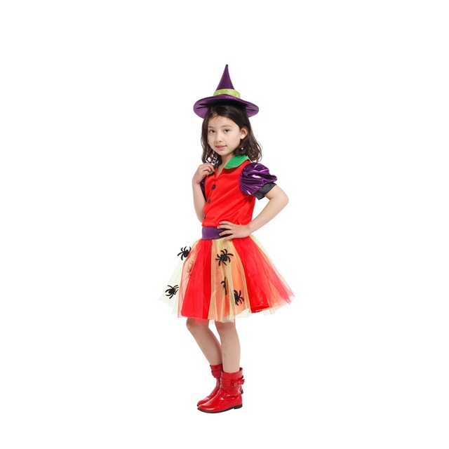 free shipping new style children girl halloween cosplay party red spider witch costume dress clothes - Spider Witch Halloween Costume