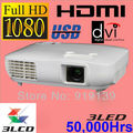 Full HD nativo 1920 x 1080 projetor 3LCD 3LED vídeo Projecteur HDMI TV Proyector casa usada Beamer