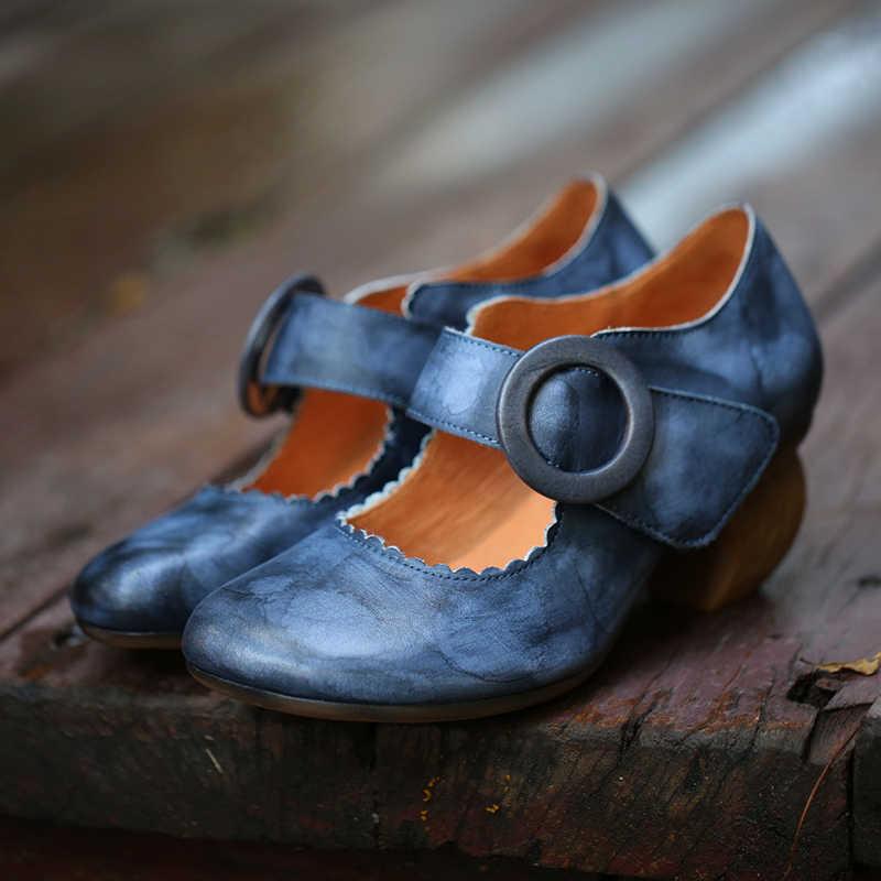 % 2019 orijinal tasarımcı kadın ayakkabı yüksek topuk bahar sonbahar kalın topuk Mary Jane pompaları hakiki deri yuvarlak kafa vintage tarzı