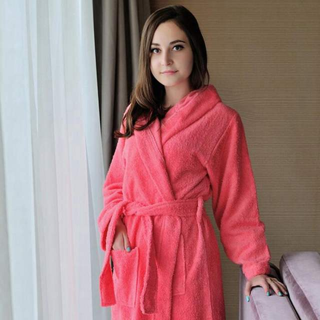 a96a774cf6 placeholder Hooded bathrobe men cotton women sleepwear nightgown mens towel  fleece thick long soft autumn winter white