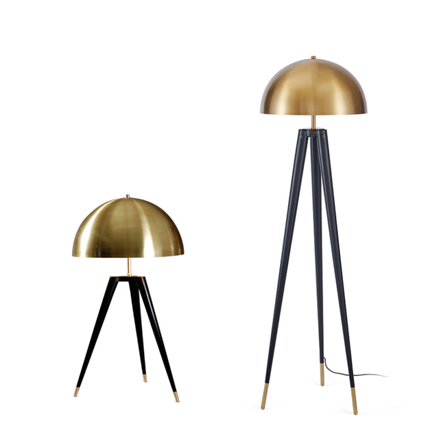 Post modern mushroom tripod base desk lamp nordic gold lampshade post modern mushroom tripod base desk lamp nordic gold lampshade table lamp metal body creative kung aloadofball Image collections