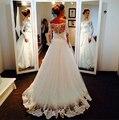 9003 2015 бусины кристалл белый кот свадебные платья с кружевом с длинным рукавом для невест Большой размер макси официально