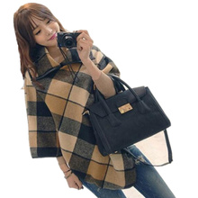 Autumn and Winter Women Turtlenck Sweater Plaid Cloak Oversized Cape Woolen Coat Jacket Pullover Poncho(China)