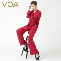 Voa 2018 Демисезонный модные женские туфли Повседневное плюс Размеры Комбинезоны для женщин v образным вырезом с длинным рукавом шелк Брюки дл