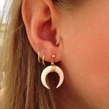 Brand New 1Pair Charm Women Fashion Ox Horn Earrings Crescent Ear Stud Fashion Jewelry  Oversize Earring