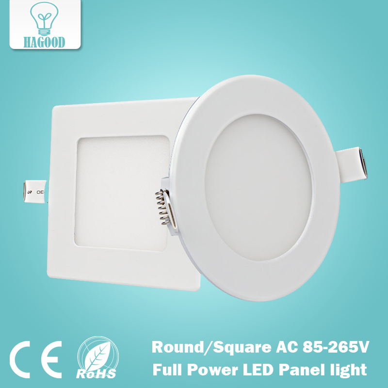 1 pce real full watt round and square led panel light 3w 4w 6w 9w 12w - Square Recessed Lighting