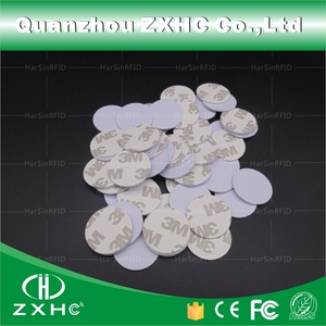 Image 1 - (100pcs) 25mm 13.56 Mhz RFID Cards IC 3M Sticker Coin Cards FM1108 Chip Compatible S50 For Access Control
