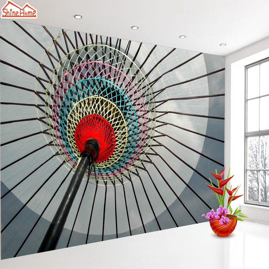 ShineHome-Large Mural Fabric Wall Paper Photo Wallpaper Abstract Umbrella Wallpaper For Walls In Rolls living Room Home Decor