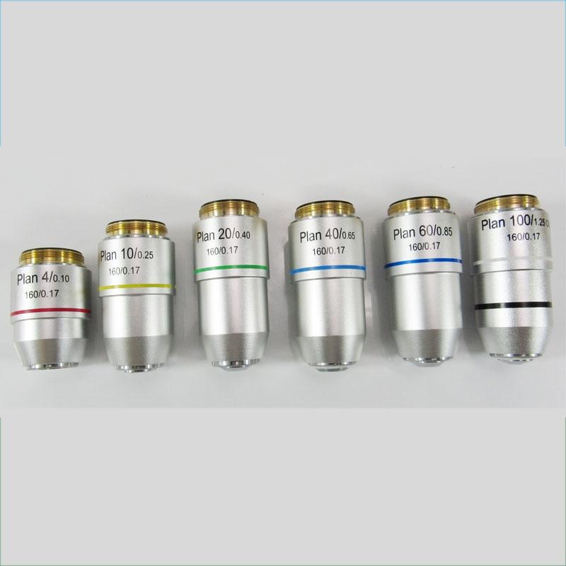 Alta qualità 4X 10X 20X 40X 60X 100X Piano Microscopio acromatico Obiettivo Obiettivo Microscopio biologico Accessori Parti