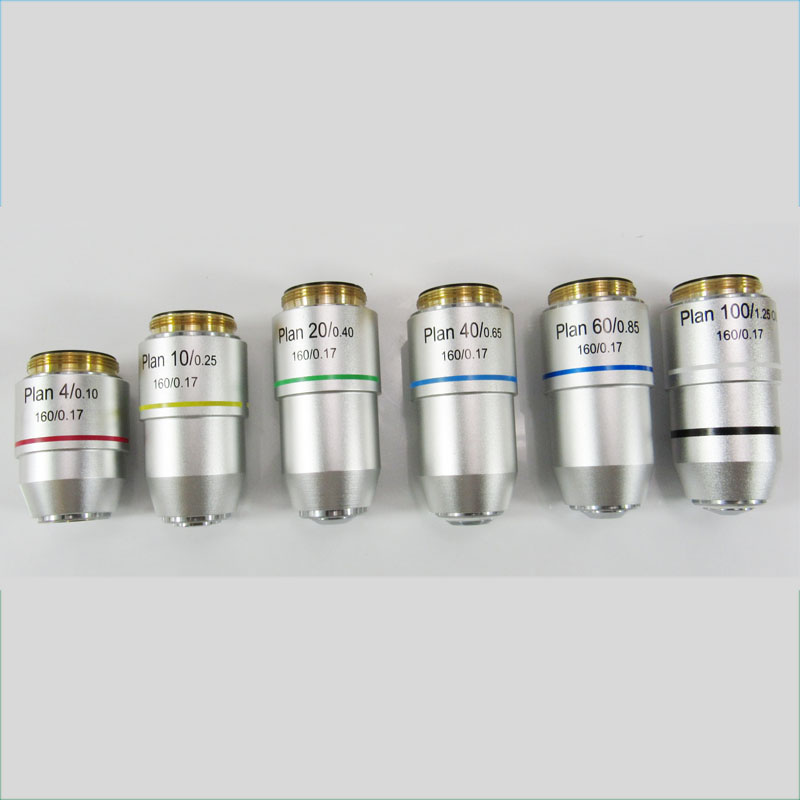 Alta calidad 4X 10X 20X 40X 60X 100X Plan Microscopio acromático Lente Objetivo Microscopio biológico Accesorios Piezas