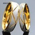AMUMIU Пара кольца День Святого Валентина Подарок Для Мужчин и Для Женщин Золотые Кольца Из Нержавеющей Стали любовника обручальное кольцо titanium R009