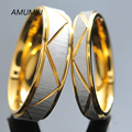AMUMIU Couple rings Valentines Day Gift For Men For Women Gold Stainless Steel Rings Lover's Gifts engagement ring titanium R009