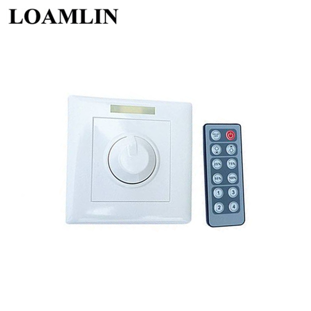 LED Dimmer Wall Switch  DC12-24V 8A 12key + IR Remote Control LED Light Dimmer  Single Color IR 12Keys Remote Control