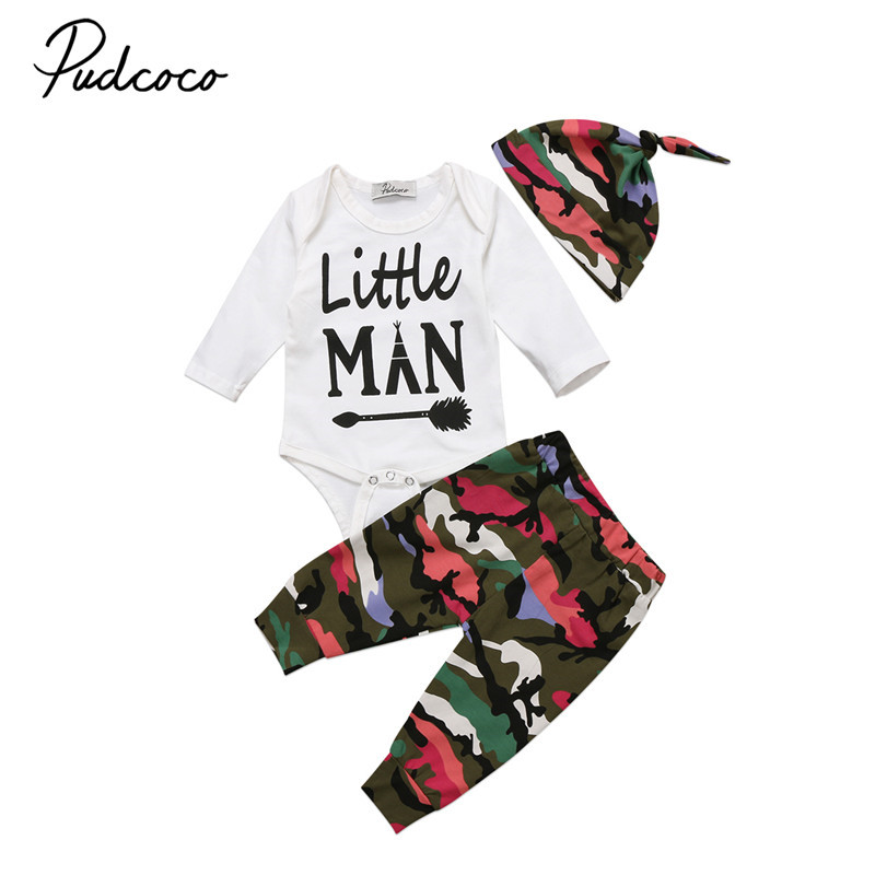 5ba1271659a2 Hot sell Newborn Baby Boys Clothes Little Man Long Sleeve Romper Camo Pants  Hat 3pcs Outfits Baby Clothing Set -in Clothing Sets from Mother   Kids on  ...
