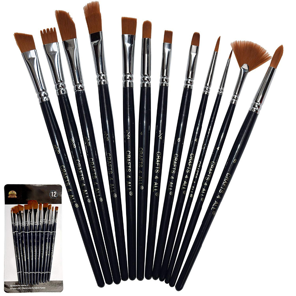 Paint Brushes 12 Set Professional Paint Brush Round Pointed Tip Nylon Hair Artist Acrylic Brush For Acrylic Watercolour PaintingPaint Brushes 12 Set Professional Paint Brush Round Pointed Tip Nylon Hair Artist Acrylic Brush For Acrylic Watercolour Painting